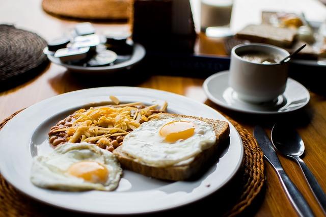 ボリュームのある朝食