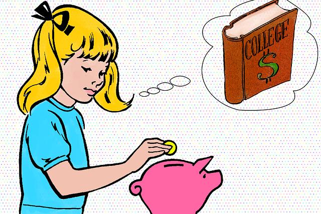 進学の資金を貯金する少女のイメージ