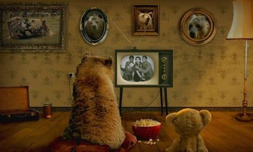 テレビを見るクマ