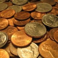 合衆国のコイン。1セント、5セント、10セント…