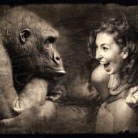 真顔の猿と笑う女性。