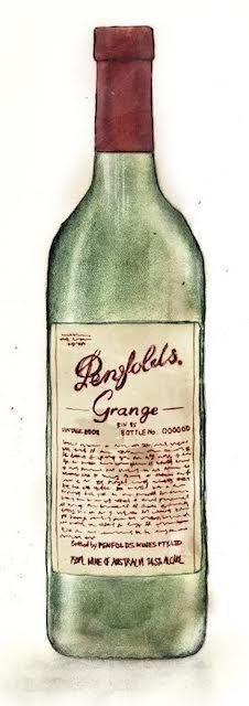 ワインの瓶を描いたイラスト